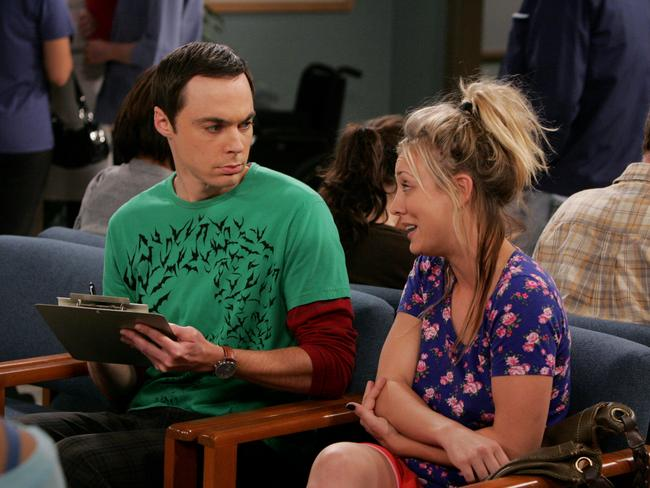 Actors Jim Parsons and Kaley Cuoco in a scene from the show. Picture: Nine Network.
