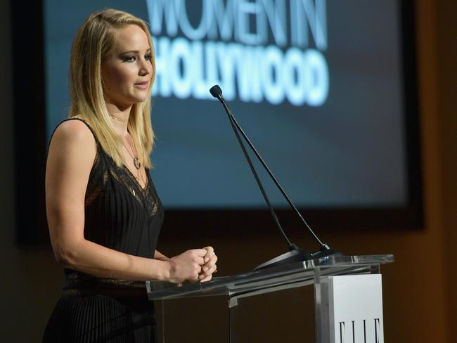 Honoree Jennifer Lawrence accepts an award at Elle's 24th Annual Women in Hollywood event. Picture: Matt Winkelmeyer/Getty Images for Elle