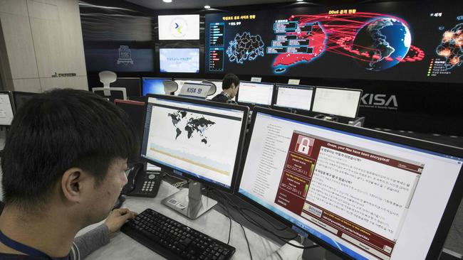 A photo taken on May 15, 2017 shows staff monitoring the spread of the WannaCry ransomware cyber-attack at the Korea internet and Security Agency (KISA) in Seoul.
