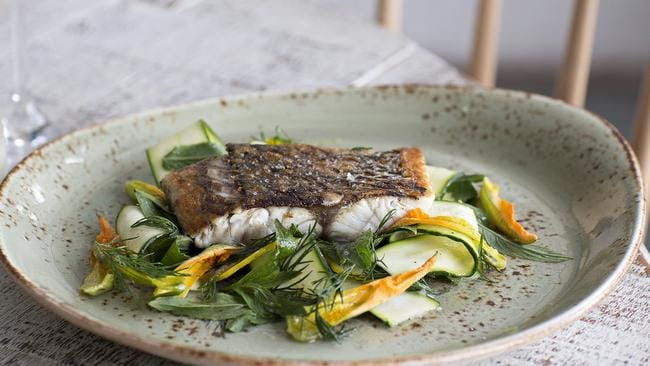 Matt Moran's pan-fried barramundi with a salad of raw zucchini and fresh herbs. Yum.