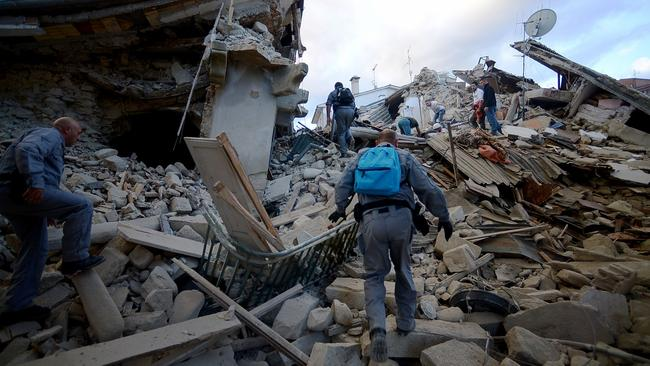 A 6.2-magnitude earthquake has killed at least 14 people and devastated dozens of mountain villages in central Italy. Picture: AFP / Filippo Monteforte