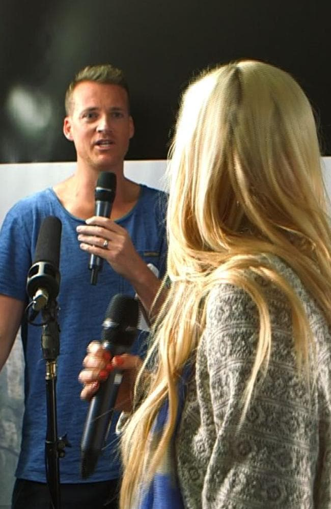 Awkward ... Sophie Monk screams at Jules Lund during an interview with Mark Wahlberg. Picture: 2Day FM