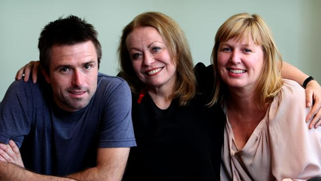 Actor Jacki Weaver with 'Animal Kingdom' producers David Michod and Lizz Watts in Sydney.