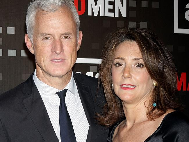 You might know these guys from the hit TV show, Mad Men. Before she married John Slattery (L) Talia Balsam (R) actually wed Clooney before splitting in 1993. Picture: Getty