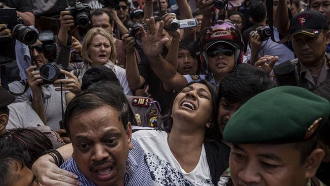 Harrowing scenes as Brintha Sukumaran, sister of Myuran Sukumaran, screams as she arrives at Wijaya Pura port to visit her brother for the last time.