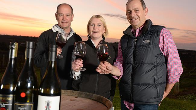 Winemakers Charles Whish from Serafino, Alexia Roberts from Penny's Hill and Stephen Pannell from SC Pannell ... raising a glass to local grenache. Picture: Tom Huntley