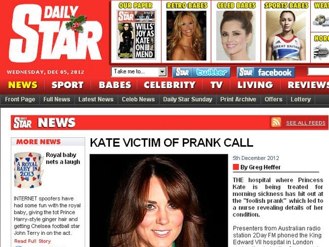 Kate prank call Star reaction