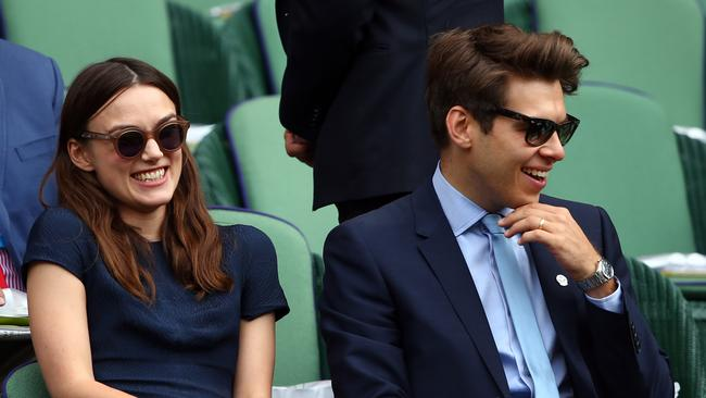 Keira Knightley and her husband, Klaxons singer James Righton caught the Ladies' Singles final between Eugenie Bouchard and Petra Kvitova. Photo: Clive Brunskill.
