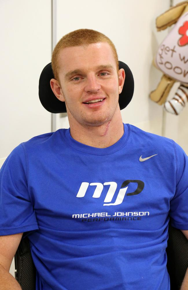 Newcastle Knights player Alex McKinnon pictured in hospital.