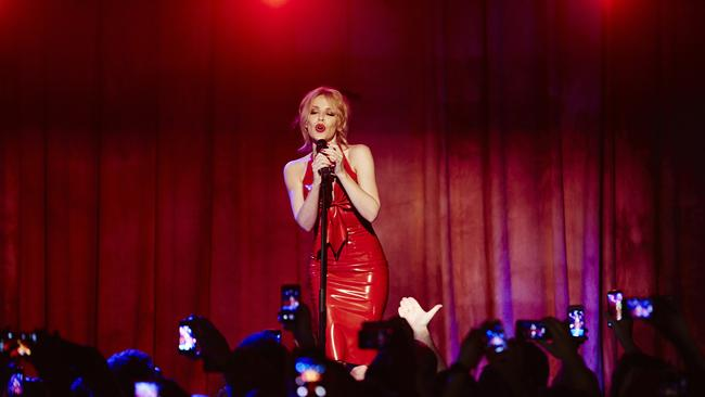 Beautiful ... Kylie Minogue performs her single Into The Blue at the Beresford Hotel in Sydney earlier this year: Picture: Supplied