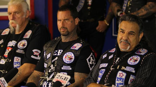 The Rebels motorcycle club are in 'disarray' after the visa of national president Alex Vella (right) was revoked when he was out of the country and sudden death of Simon Rasic (centre).
