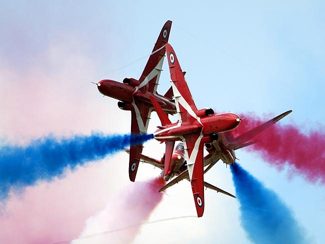 The Red Arrows put on a patriotic show at Fairford, UK. Picture: AirTeamImages