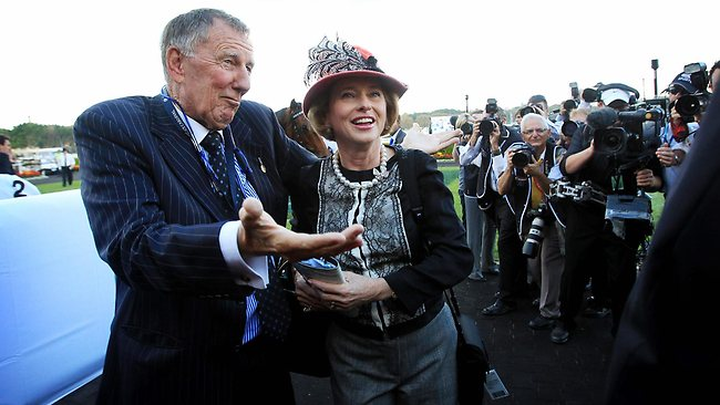Winning formula: Owner John Singleton and premier trainer Gai Waterhouse celebrate winning last year's Doncaster Mile with More Joyous. Picture: Sam Ruttyn