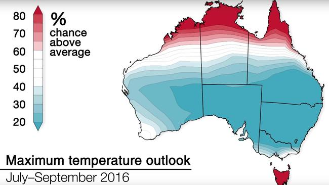 Temperatures are expected to be cooler across much of the country this winter. Source: Bureau of Meteorology