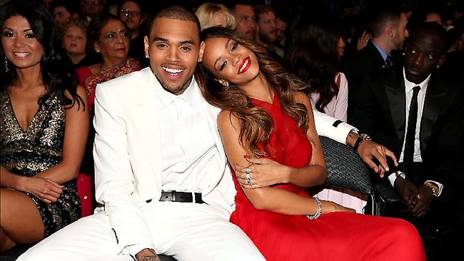 Chris Brown and ex girlfriend Rihanna at the 2013 Grammy's in February.