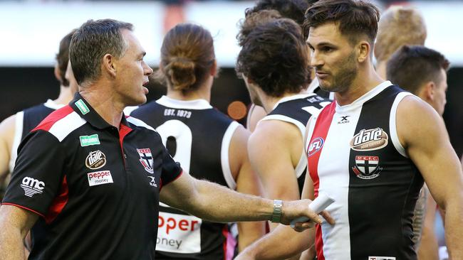 St Kilda coach Alan Richardson talks with Koby Stevens Picture: George Salpigtidis