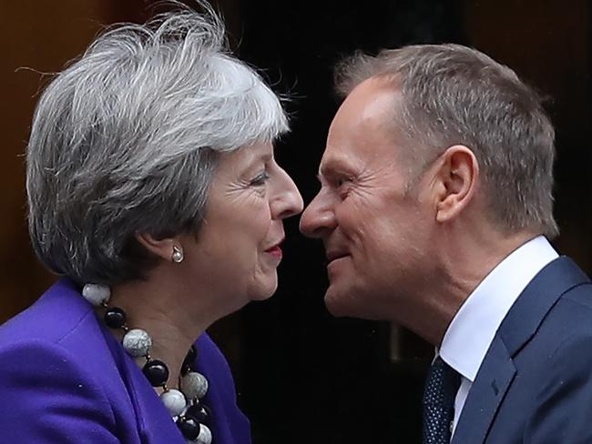Britain's Prime Minister Theresa May greets European Council President Donald Tusk. The EU claims that Britain cannot have their cake and eat it. Picture: AFP PHOTO / Daniel LEAL-OLIVAS