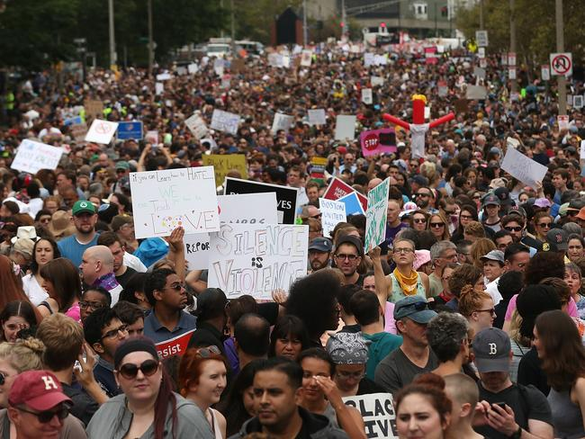 Thousands of protesters march in Boston against a planned 'Free Speech Rally' just one week after the violent 'Unite the Right' rally in Virginia left one woman dead on August 19, 2017. Picture: AFP.