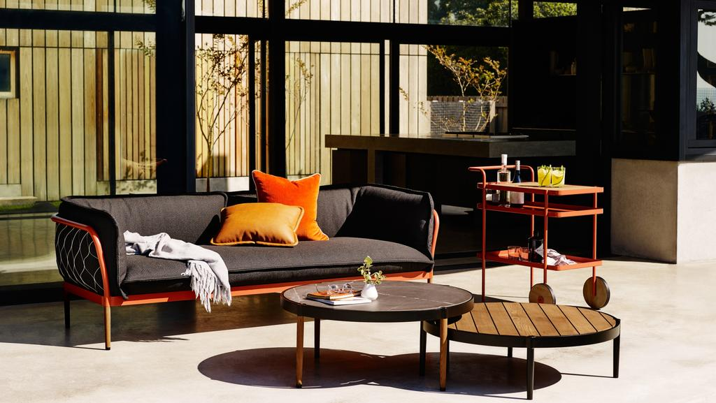 Stoke up the fire and invite your friends around to enjoy the cold outdoors on this Trace collection by Adam Goodrum for Tait, which includes lounges and coffee tables designed for outdoor use.