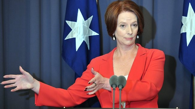 Prime Minister Julia Gillard holds a press conference after retaining the Labor leadership on Monday.