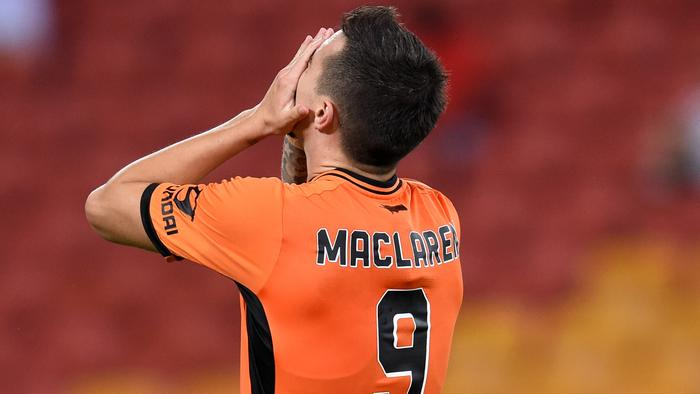 Jamie Maclaren of the Brisbane Roar reacts after missing a kick to goal during their round 12 A-League game against Western Sydney Wanderers at Suncorp Stadium in Brisbane, Friday, Dec. 23, 2016. (AAP Image/Dan Peled) NO ARCHIVING, EDITORIAL USE ONLY