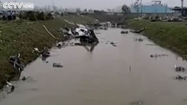 Destruction from a tornado that ripped through eastern China. picture: Supplied/CCTV News