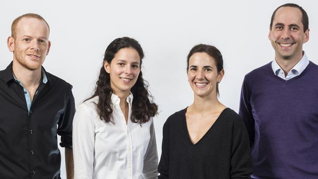 The team of scientists looking at Acriflavine as a superbug cure, Jonathan Ferrand, Charlotte Nejad, Genevieve Pepin and Michael Gantier. Picture: Hudson Institute of Medical Research