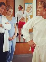 Someone looks impressed with Shane Warne's new butt implants! Picture: Instagram