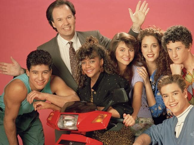 Better days ... Pictured: (l-r) Mario Lopez as Alabert Clifford 'A.C.' Slater, Dennis Haskins as Mr. Richard Belding, Lark Voorhies as Lisa Turtle, Tiffani Thiessen as Kelly Kapowski, Elizabeth Berkley as Jessie Spano, Mark-Paul Gosselaar as Zachary 'Zach' Morris, Dustin Diamond as Screech Powers