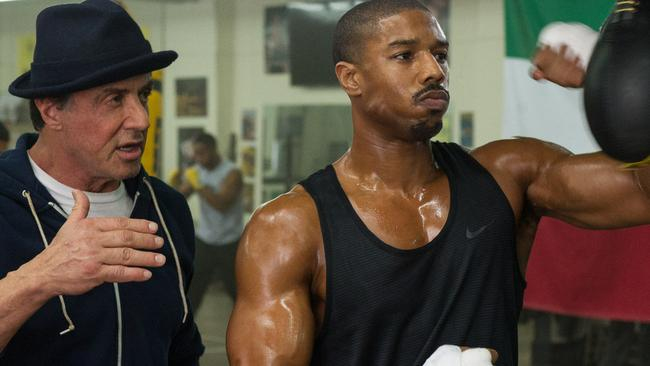Sylvester Stallone with Michael B Jordan and in Creed.