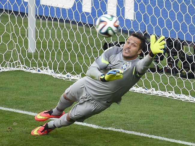 Brazil's goalkeeper Julio Cesar save a penalty against Chile in the World Cup 2014 round of 16 clash.