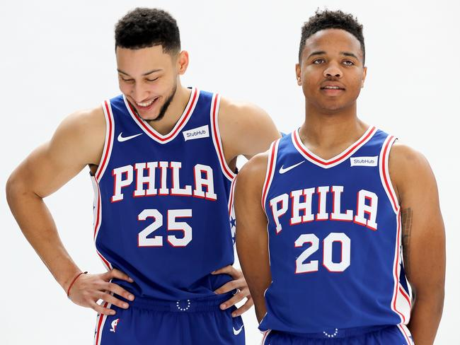 Ben Simmons and Markelle Fultz during pre-season.