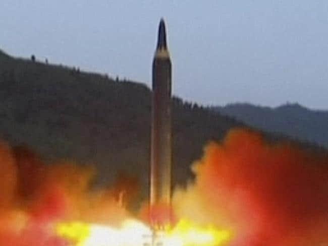 The launch of the Hwasong-12 missile at an undisclosed location in North Korea. Picture: KRT via AP