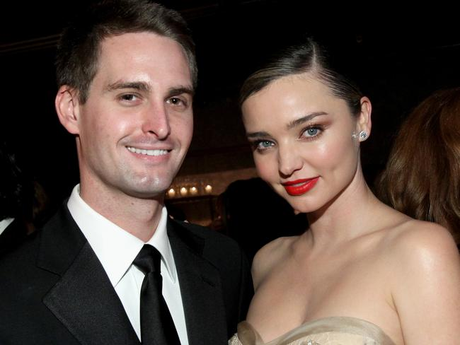 Evan Spiegel with now fiancee Miranda Kerr. Picture: Tommaso Boddi