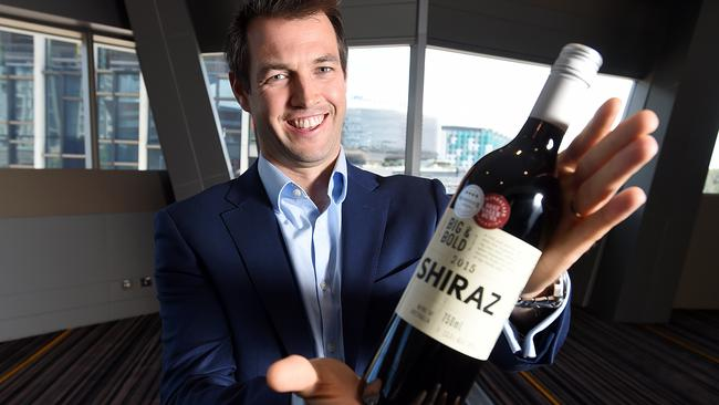 Ed Ashley, head of wine sourcing for Coles' Liquorland stores, with own-label Big & Bold shiraz. Picture: Sam Wundke