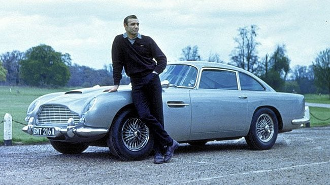 Actor Sean Connery as James Bond in 1964 film Goldfinger with 1964 Aston Martin DB5. Picture: Shooterz