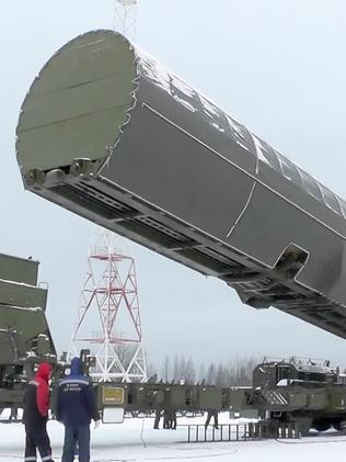 Russia's new Sarmat intercontinental missile. Picture: RU-RTR Russian Television/AP