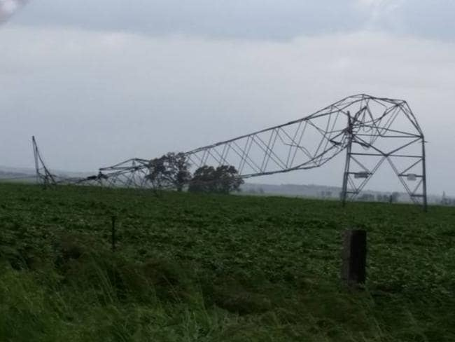 Electricity transmission towers looked a little worse for wear. Picture: Debbie Prosser/Facebook