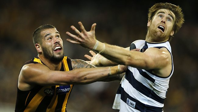 Hawthorn forward Lance Franklin duels with Geelong defender Tom Lonergan. Picture: Wayne Ludbey