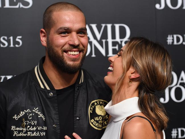Lance Franklin and model Jesinta Campbell. Picture: Dan Himbrechts/AAP.