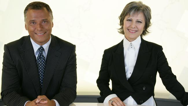 Stan Grant and Mary Kostakidis, presenters of SBS-TV show World News Australia.