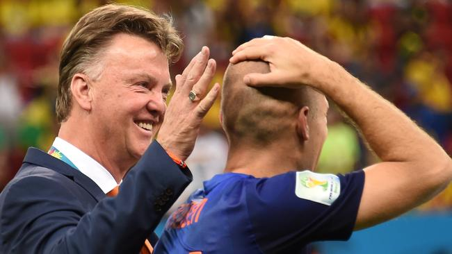 Netherlands' coach Louis van Gaal and Netherlands' forward Arjen Robben,