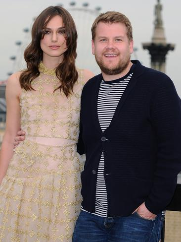 Keira Knightley and James Corden pose for the media in London. Picture: Getty