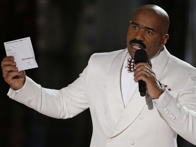 Harvey still needs two armed guards at his house after reading the winner of Miss Universe 2015 wrong.