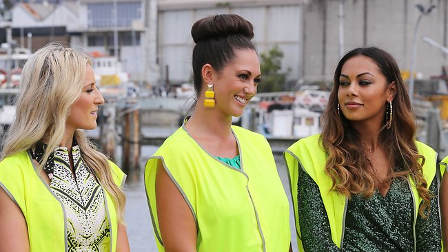 Roxy Jacenko, Layla Subritzky and Prinnie Stevens during the challenge. Picture: Channel Nine