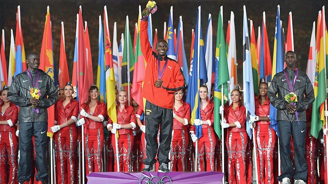 Stephen Kiprotich of Uganda is awarded the men's marathon gold medal.