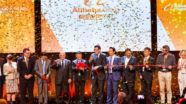 Alibaba founder and executive chairman Jack Ma (centre with rosette) at the Melbourne Alibaba launch.