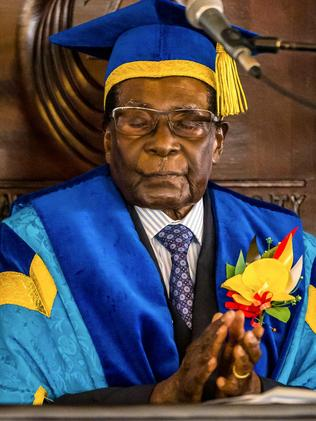 Zimbabwe's President Robert Mugabe at a graduation ceremony at the Zimbabwe Open University in Harare. Picture: AFP