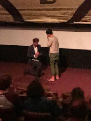 Callan Ward proposes to his girlfriend Ruby Keddie at the Sun Theatre. Picture: facebook.com/suntheatreyarraville