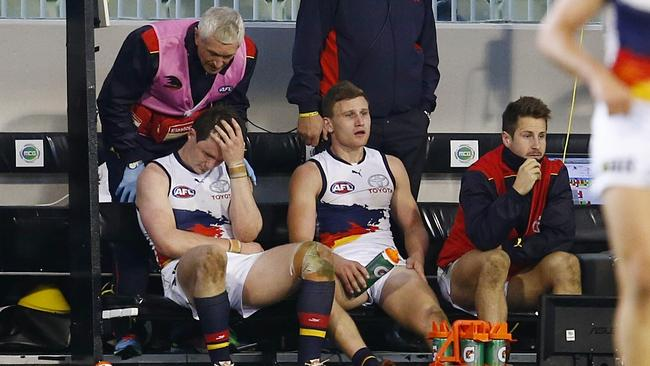Patrick Dangerfield on the bench after injuring his knee late in the game. Picture: Michael Klein